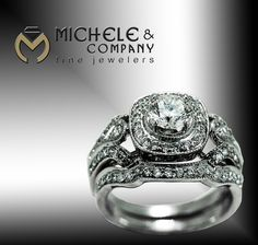 14 karat white gold wedding set, set with .72 carat center round diamond and with .65 total carat weight in accent diamonds. $6,500 www.michele-co.com www.facebook.com/MicheleCoJewelers