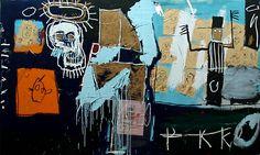 Collage papier/autre support puis repeindre dessus, BD+symboles.. Magnifique tableau vu musée GP.                                Salve Auction .Jean-Michel Basquiat