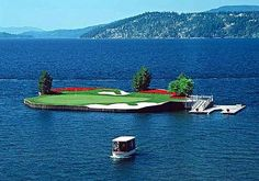 The 14th Par 3 Floating Green at Coeur d'Alene Golf and Spa Resort (on my bucket list)