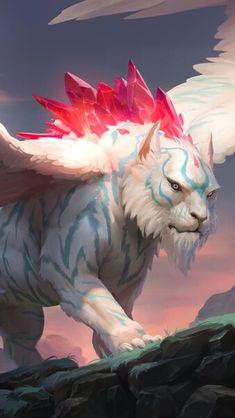 Legends of Runeterra Jeweled Protector HD Mobile, Smartphone and PC, Desktop, Laptop wallpaper Mythical Creatures Art, Mythological Creatures, Magical Creatures, Creature Concept Art, Creature Design, Creature Drawings, Animal Drawings, Wolf Drawings, Dark Fantasy Art