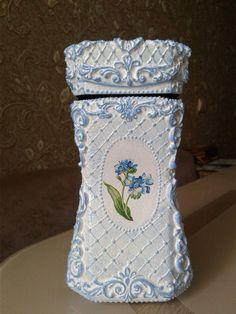 Glass Bottle Crafts, Diy Bottle, Bottle Art, Easy Home Decor, Diy Home Crafts, Easy Diy Crafts, Bottles And Jars, Glass Bottles, Decoupage Printables