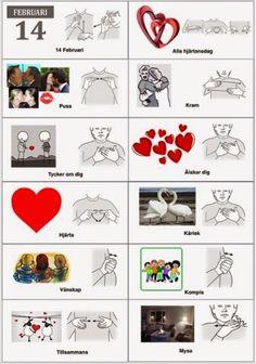 Tecken som stöd: Alla hjärtansdag ord