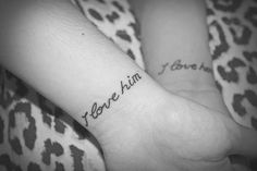 """I love him"" & ""I love her"" wrist tattoos.  tumblr m734s3QWiU1r85ag1o1 500"