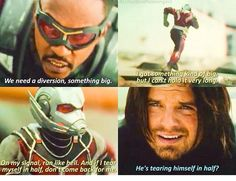 "Haha! Oh Bucky, I was just as confused, sweetheart. But I'm sure he says ""What? He's gonna tear himself in half?"""
