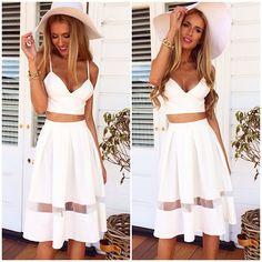 White High Waist Contrast Sheer Pleated Skirt