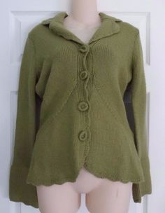 HWR Monogram Anthropologie Green Button Front Cardigan Collared Sweater Sz. M #HWR #Collared