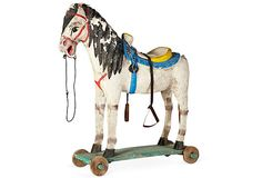 Large Handcrafted Rolling Toy Horse