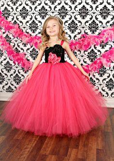 Rosa y negro flor chica vestido Couture Tutu por krystalhylton