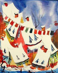 Peinture - medium Aquarelle - Serge Nadeau Meli Melo, Line Art, Laundry, Watercolor, Paris, Abstract, Illustration, Painting, Painting On Wood