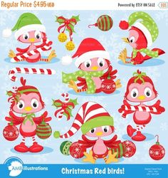 80%OFF Christmas clipart christmas birds by AMBillustrations
