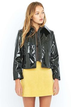 Cheap Monday Prize Black Patent Faux-Leather Biker Jacket, Black