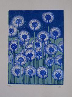 Let It Rain, indigodreams: Tournesol lino print Dandelions Linocut Prints, Art Prints, Block Prints, Lino Art, Linoleum Block Printing, Linoprint, Illustrator, Tampons, Woodblock Print