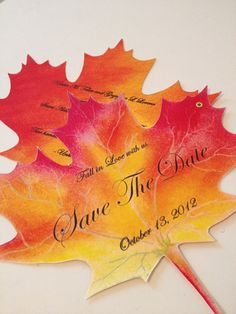 Fall In Love Maple Leaf Save the Date by MyBigDayInvitations,
