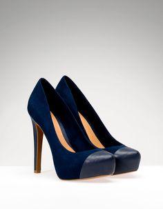 High heel platform court shoes with trim