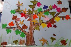 Manualidades con mis hijas. Árbol con hojas de otoño. Autumn tree. Crafts