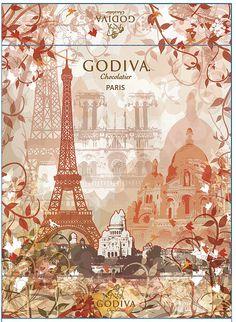 Godiva Chocolates Packaging , aussi c,est bon pour la sante le chocolat !