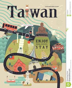Illustration about Lovely Taiwan travel poster design with famous attractions. Illustration of attractions, design, head - 63058270 Travel Icon, Travel Maps, New Travel, Girl Travel, Bali Travel, London Travel, Travel Couple, Dm Poster, Poster City