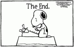 'The End', Sad Snoopy. (this was one of a series of cartoons of all the characters mourning the death of Charles Schultz, the creator of the Peanuts Gang Comics).