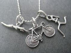 SWIM BIKE RUN Tri Sterling Silver Triathlete por TheRunHome en Etsy