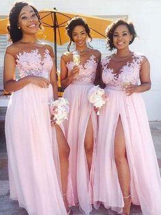 3a729ec8500 Lace Appliqued Bodice Pink Chiffon Long Mismatched Bridesmaid Dresses with  Slit APD2254