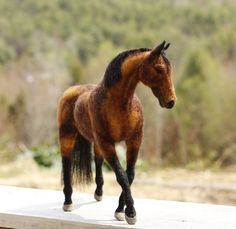 Custom horse portrait needle felted  pet memorial by Ainigmati