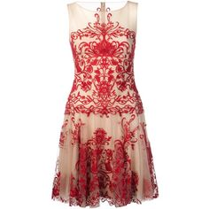 MARCHESA NOTTE illusion neck embroidered dress ($645) ❤ liked on Polyvore featuring dresses, vestidos, marchesa, red dress, round neck dress, round neckline dress, short embroidered dress and embroidered dress