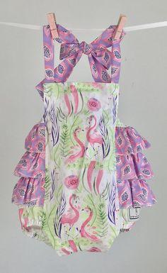 Flamingo Grove Ruffled Romper, Viola Papaya Ruffled Romper, Lavender Toddler Romper, Ruffled Rompers, Quality Handmade in the USA Romper Baby Ruffle Romper, Baby Bloomers, Baby Design, No Frills, Flamingo, Printing On Fabric, Ruffles, Rompers, Adorable Babies