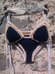 Темно-синий вязание крючком бикини Треугольник бикини с GoodMoodCreations