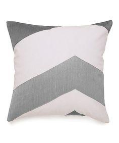 Pearl Gray Wide Chevron Throw Pillow