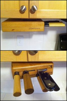 Keep your knives out of reach of children with this under-cabinet-swinger knife block