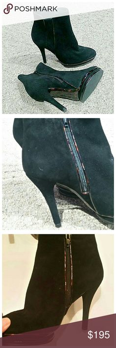 """Stuart Weitzman black heeled ankle boots Brand new without the box. Gorgeous suede heels. Zipper closure on the inside. I absolutely wish these were my size. 3"""" heel with a 3/4"""" platform. Stuart Weitzman Shoes Heels"""