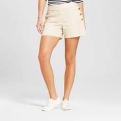 Women's Brushed Linen Side Button Sailor Shorts - Xoxo (Juniors') Beige 12