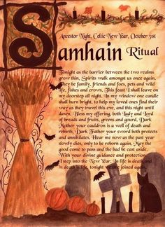 Honoring our ancestors: the Wiccan Samhain–recipes, ritual and history Samhain Ritual, Blessed Samhain, Samhain Halloween, Holidays Halloween, Halloween Spell Book, Halloween 2015, Halloween House, Coven, Book Of Shadows