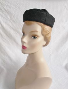 1960's Vintage Black Pill Box Hat with Bow from Abandoned Time Capsule House
