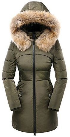 Valuker Women's Down Coat with Hood 90% Down Parka Fur Winter Jacket