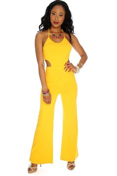 Marigold Cut Out Sexy Jumpsuit