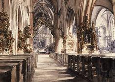 Paul Dmoch La nef de la Basilique Saint-Jean-Baptiste et Saint-Jean-Evangéliste à Torun en Pologne 69 x 92 - aquarelle