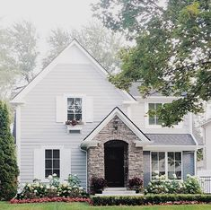 Classic Home Exterior with stone, painted brick and Hardie planks. Classic Home Exterior with stone, painted brick and Hardie planks #ClassicHomeExterior #exterior #stone #paintedbrick #Hardieplanks Via xomrsmeasom