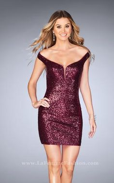 25085- Off-the shoulder cutout sequins sparkle Lafemme 2017 Homecoming Dress.  Available at 3a3486f33d4c
