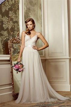 Wholesale 2014 - Buy 2014 Beach Sheer Wedding Dresses See Through Tulle Top Sash Backless A-Line Sweep Train Lace Appliques Bridal Gown, $112.05 | DHgate