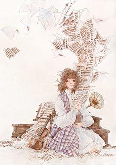Art (Credit: on pic) Art Anime, Anime Art Girl, Anime Manga, Anime Girls, Pretty Art, Cute Art, Estilo Anime, China Art, Love Illustration