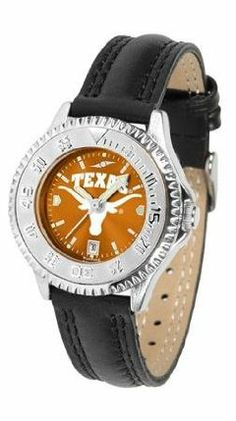 Texas Longhorns UT NCAA Womens Leather Wrist Watch by SunTime. $79.95. Showcase the hottest design in watches today! A functional rotating bezel is color-coordinated to compliment your favorite team logo. A durable long-lasting combination nylon/leather strap together with a date calendar round out this best-selling timepiece.. Save 21%!