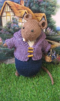 Hand knitted storybook mouse doll    Reserved by dollsandbunnies