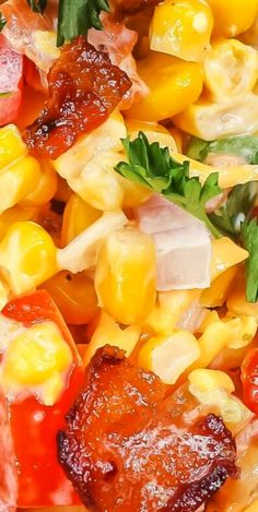 Sweet & Salty, Crunchy & Creamy; this Grilled Crack Corn Salad Recipe makes an addictive summer side dish featuring roasted corn and bacon. Corn Salad Recipes, Summer Salad Recipes, Corn Salads, Salad Dressing Recipes, Most Popular Recipes, Favorite Recipes, Soup And Salad, Salad Bar, Good Food