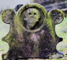 """mariadoroteaj: One of the oldest gravestones to be found in a churchyard. Below the skull carving are the words """"memento more"""" which are usually written as Momento Mori. Memento mori is a Latin phrase meaning """"Be mindful of death"""" and may be translated as """"Remember that you are mortal,""""."""