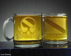 This etched glass coffee mug is for you, or for the scuba diving enthusiast in your life. You are looking at ONE etched glass coffee mug. It has a Skull and Crossbones dive flag etched largely on on Slumped Glass, Etched Glass, Glass Etching, Glass Coffee Mugs, Beer Mugs, Gifts For Scuba Divers, Dive Flag, Etched Wine Glasses, Skull And Crossbones