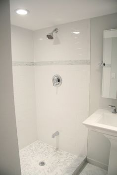 I so want a shower just like this! I love the tub spout down lower (although I…