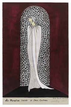 Les Monstres Sacrés (de Jean Cocteau), croquis de théatre YSL, 1966 Théâtre - Expositions - Archives Pierre Bergé Yves Saint Laurent