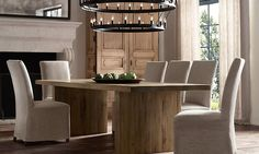 Rooms | Restoration Hardware- client will love this understated riff on a conference table