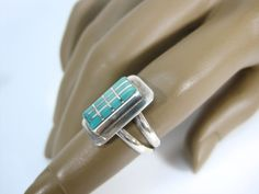 Beautiful Native American Sterling Silver & Turquoise Signed RFA Ring Size 6.5